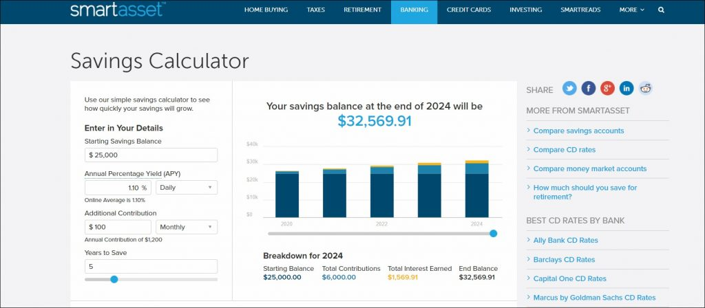 interactive savings calculator